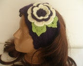 Crochet Headband ...Woman girl crochet  headband with crocheted flower handmaded...Crochet Pattern