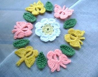 6 Pcs Butterflys and 1 PcsDaisy...Crochet Pattern Applique... 6 Pcs Leaf...Embellishment