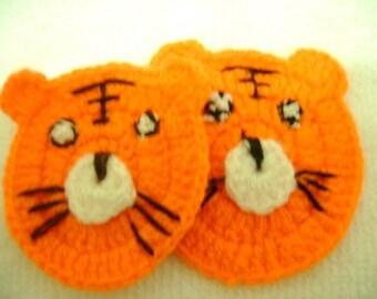 2 Pcs Cotton Crochet Applique Tiger...Pattern Applique...Crochet Applique...Embellishment