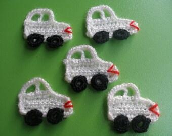 5 Pcs White  Handmade Crochet Applique Lovely Automobile ...Pattern Applique...Crochet Applique...Embellishment