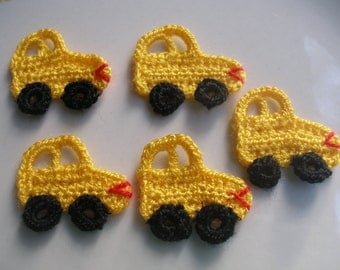 5 Pcs Yellow  Handmade Crochet Applique Lovely Automobile ...Pattern Applique...Crochet Applique...Embellishment