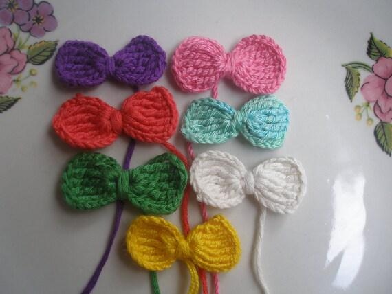 7 Pcs  Cotton Knitting Applique Bow... Mini  Knitting Bow....Embellishment... Knitting  Pattern