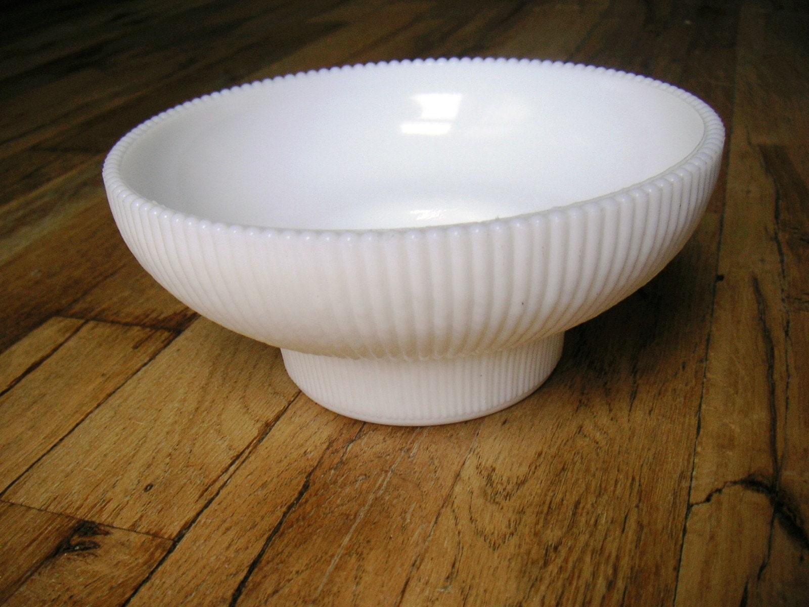 Fluted White Hoosier Milk Glass Bowl Vase