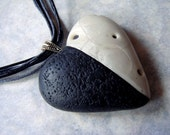 Handmade Black and White Heart Necklace