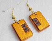 Handmade Square Tile Matching Earrings, Polymer Clay Earrings, Golden Earrings, Gustav Klimt Earrings, Jewelry, Gift for Her, Mom Gift
