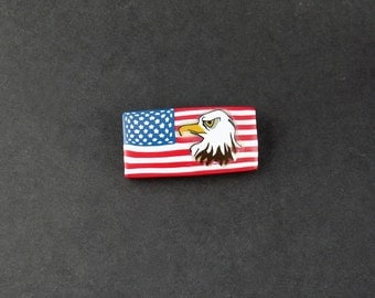Patriotic American Flag Brooch, American Brooch, Polymer Clay Brooch, Handmade, Eagle, Bald Eagle Brooch, jewelry, Gift for Her, Mom Gift