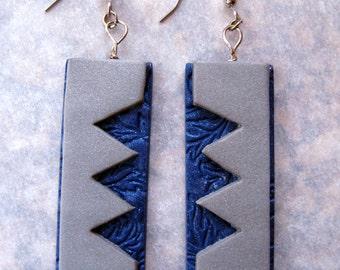 Blue and Silver ZIG-ZAG Earrings