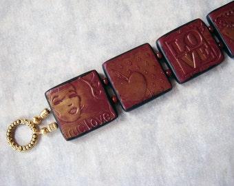 Polymer Clay Bracelet, Valentines Day Burgundy Tile Bracelet, Heart Bracelet, Polymer Clay, Handmade, Wine Bracelet, Love, Jewelry, Mom Gift