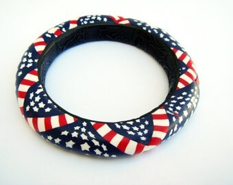 Patriotic American Bangle Bracelet, Red White Blue Bracelet, Polymer Clay Bracelet, Bracelet, Jewelry, OOAK, Gift for Her, Mom Gift