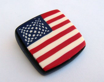 Patriotic American Flag Brooch, Polymer Clay Pin, Red White and Blue Brooch, Jewelry, Polymer Clay Brooch, Handmade, Gift for Her, Mom Gift