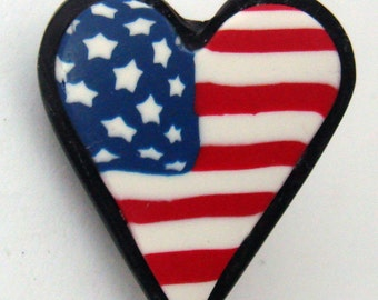 Patriotic American Flag Heart Brooch Pin, Red White and Blue Pin, Heart Pin, Jewelry, Polymer Clay Pin, Gift for Her, Mom Gift, 4th of July