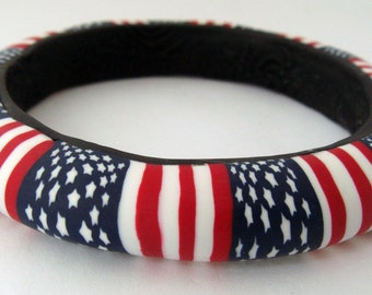 Patriotic American Bangle Bracelet C, Polymer Clay, Handmade, Red White and Blue, Bangle Bracelet, Gift for Her, Mom Gift, 4th of July