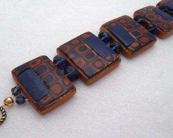 Handmade Bracelet, Metallic Gold and Navy Blue, Polymer Clay Tile bracelet, Handmade Bracelet, Jewelry, Tile Bracelet, Gustav Klimt
