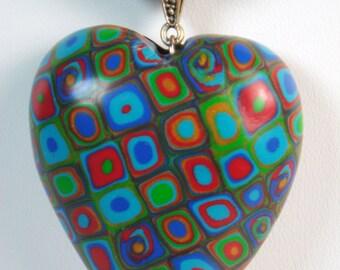 Gustav Klimt Cane Heart Necklace, Polymer Clay Necklace, Handmade, Jewelry, Heart Necklace, Polymer Clay, Gift for Her, Mom Gift