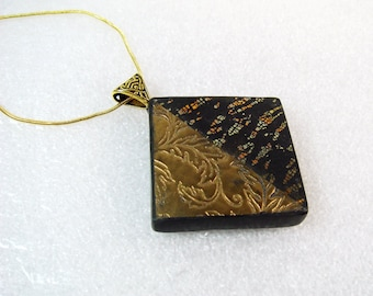 Polymer Clay Necklace, Handmade Black and Gold Necklace, Square Necklace, Textured Necklace, Jewelry Necklace, Polymer Clay Necklace