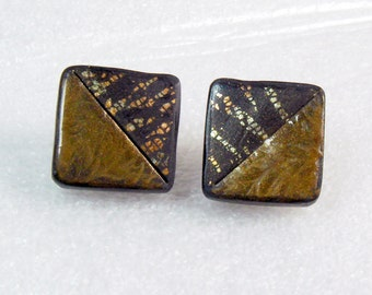 Handmade Gold Mica and Gold Leaf Polymer Clay Earrings, Handmade, Cuff Earrings, Metallic Earrings, Square Earrings, Jewelry, Mom Gift