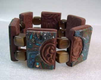 Chocolate Tile Bracelet, Polymer Clay Tile Bracelet, Handmade Bracelet, Jewelry, Tile Bracelet, Glass Beads, Gift for Her, Mom Gift