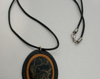 Black and Gold Oval Necklace