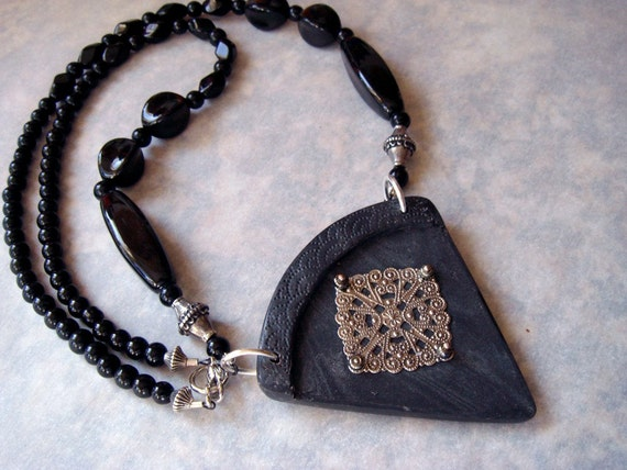 Polymer Clay Necklace, Handmade Metallic Black Triangle Necklace, Necklace, Metallic Necklace, Black, Glass Beads, Jewelry, Pendant