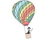 Hot air balloon nursery decor // colorful art print illustration
