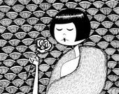 No petal falls // art deco flapper holding a rose illustration // art print