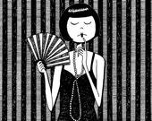Black and white flapper dancer illustration // Ruby Stevens black and white art print