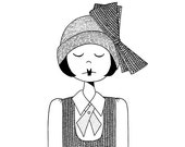 Flapper Girl drawing in 1920s Fashion // Black and White Roaring 20s Flapper Doodle Era Art Print Illustration