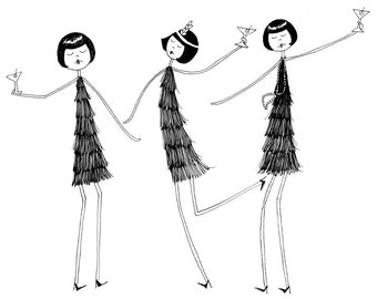 1920s Flapper Party // art print illustration // Eloise Ramona and Clarissa have a party