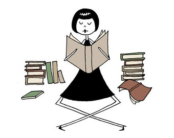 Book lover librarian drawing // art print // Emma loves to read books