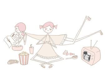 Pink slumber party // sleepover art print // childs room decor