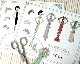 1920s Flapper Paper Doll Set // Eloise and Ramona