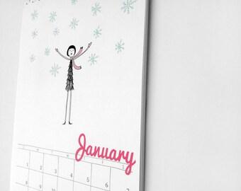 2016 Wall Calendar // flapper doodle colorful calendar // PDF Printable