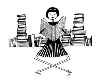 Book lover librarian // bookworm reading illustration