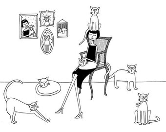 Cat lady // kitty cat lover feline art print