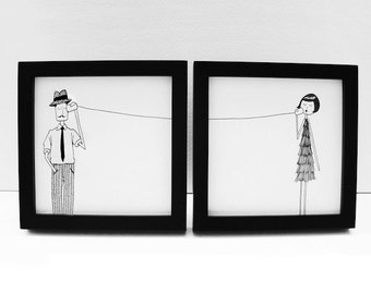 Ernest and Eloise play telephone // couple long distance art print set