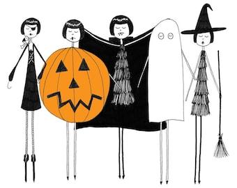 A Flapper Doodle Halloween // art print