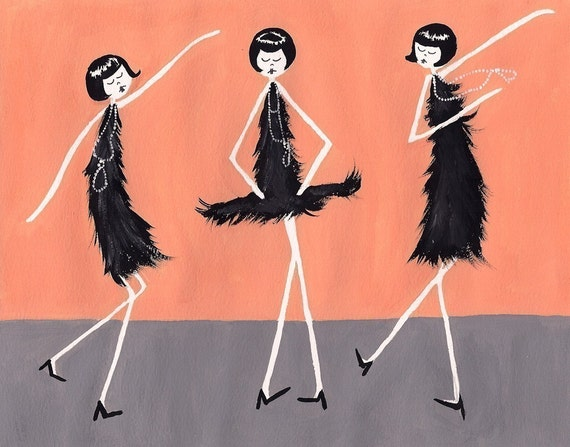 1920s Flappers dancing the Charleston // art print // Jazz age painting