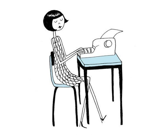 Ramona types a letter on her typewriter //  art print