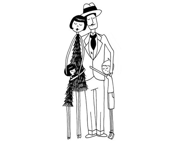 1920s Dapper Flapper family // art print