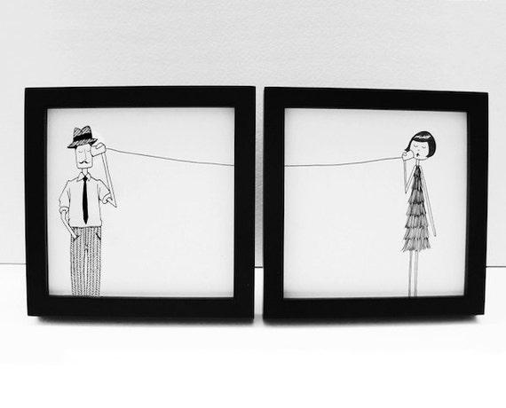 Ernest and Eloise play telephone // couple long distance art print set