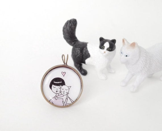 Cat lady kitty pendant
