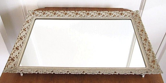 Vintage Vanity Mirror Tray Filigree Floral Gold & White Wash