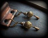 Fancy Filigree Vintage Brass Earrings