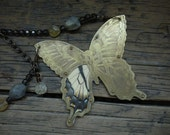 Necklace - Etched Brass Butterfly With Real Wing