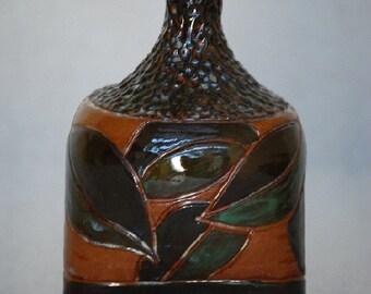 Carved Earthenware Bottle