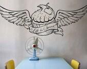 cupcake wall decal with wings, custom banner, tattoo cupcake, customize cupcake sticker art, FREE SHIPPING