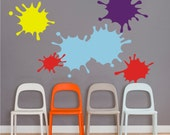 paint splatter, ink splotch vinyl wall decal set, paint splatter art room decal, class room, craft room, FREE SHIPPING