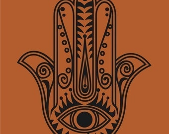 hamsa wall decal sticker, vinyl art, traditional art, evil eye