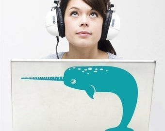 narwhal laptop decal geekery, sticker art, narwhal design, FREE SHIPPING