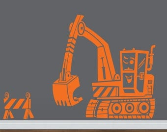 Excavator Wall Decal Etsy - Custom vinyl wall decal equipment